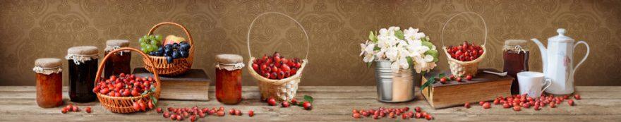Изображение для стеклянного кухонного фартука, скинали: цветы, посуда, ягоды, банки, fartux1567