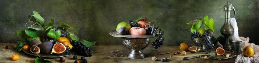 Изображение для стеклянного кухонного фартука, скинали: ваза, посуда, фрукты, fartux1569