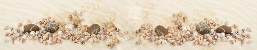 Изображение для стеклянного кухонного фартука, скинали: камни, ракушки, песок, fartux1570