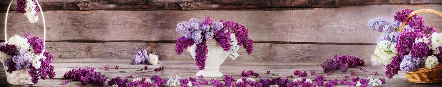 Изображение для стеклянного кухонного фартука, скинали: цветы, ваза, корзина, сирень, fartux1572