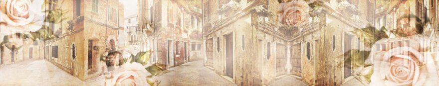 Изображение для стеклянного кухонного фартука, скинали: цветы, розы, архитектура, улица, fartux1575