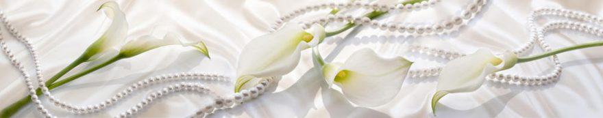 Изображение для стеклянного кухонного фартука, скинали: цветы, жемчуг, каллы, fartux1576