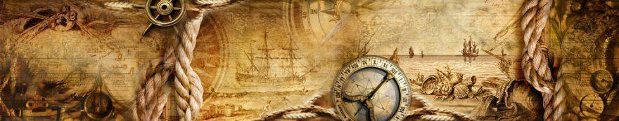 Изображение для стеклянного кухонного фартука, скинали: коллаж, компас, корабль, fartux1577