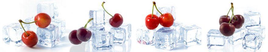 Изображение для стеклянного кухонного фартука, скинали: ягоды, вишня, лед, fartux1579