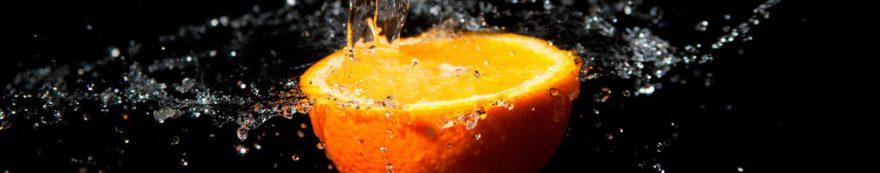 Изображение для стеклянного кухонного фартука, скинали: вода, фрукты, апельсины, fartux1580