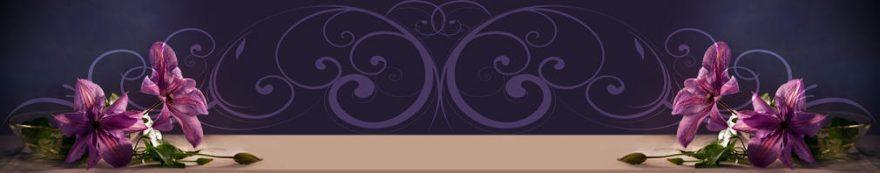 Изображение для стеклянного кухонного фартука, скинали: цветы, орнамент, fartux1588