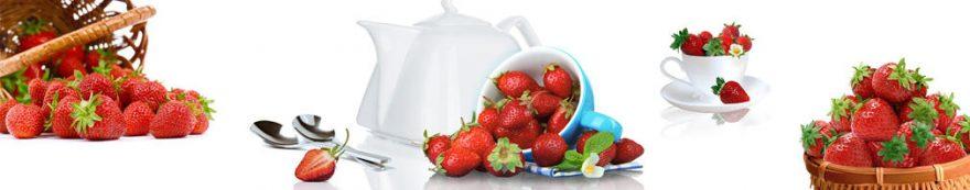 Изображение для стеклянного кухонного фартука, скинали: посуда, корзина, ягоды, клубника, кружка, fartux1601