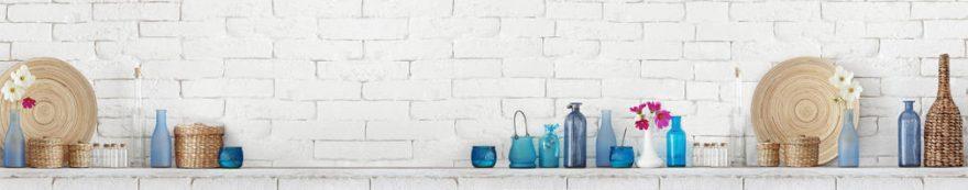 Изображение для стеклянного кухонного фартука, скинали: текстура, бутылка, банки, кирпич, fartux1602