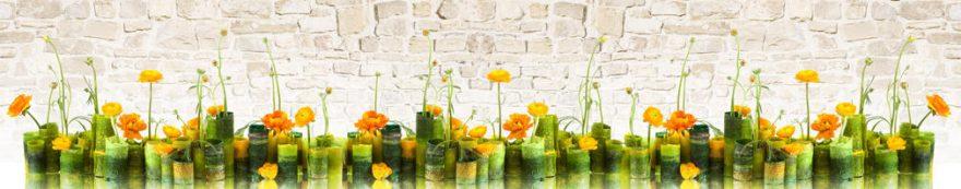 Изображение для стеклянного кухонного фартука, скинали: цветы, кирпич, fartux1605