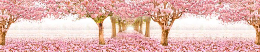 Изображение для стеклянного кухонного фартука, скинали: цветы, деревья, сакура, fartux1619