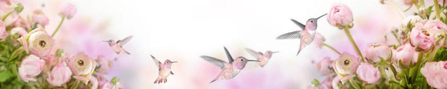 Изображение для стеклянного кухонного фартука, скинали: цветы, птицы, fartux1620