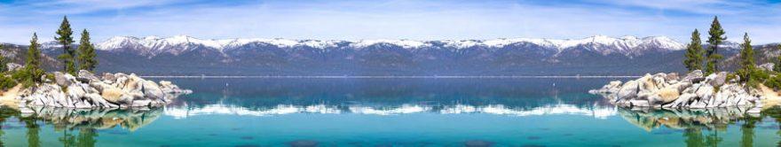 Изображение для стеклянного кухонного фартука, скинали: горы, озеро, fartux1687