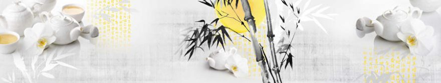Изображение для стеклянного кухонного фартука, скинали: бамбук, посуда, чай, коллаж, чайники, fartux1709