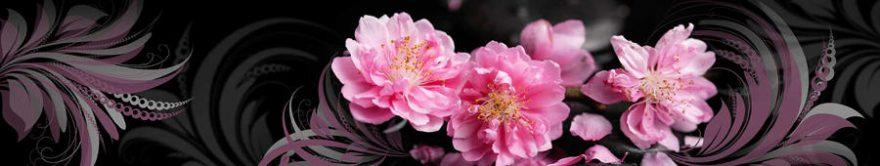 Изображение для стеклянного кухонного фартука, скинали: цветы, орнамент, fartux1711