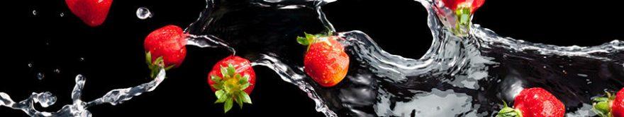 Изображение для стеклянного кухонного фартука, скинали: вода, ягоды, клубника, fartux1714