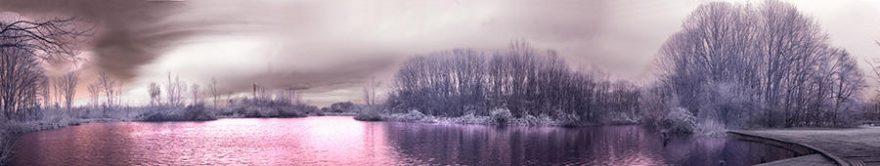 Изображение для стеклянного кухонного фартука, скинали: природа, зима, деревья, лес, fartux1727