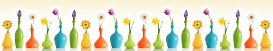 Изображение для стеклянного кухонного фартука, скинали: цветы, ваза, fartux1744