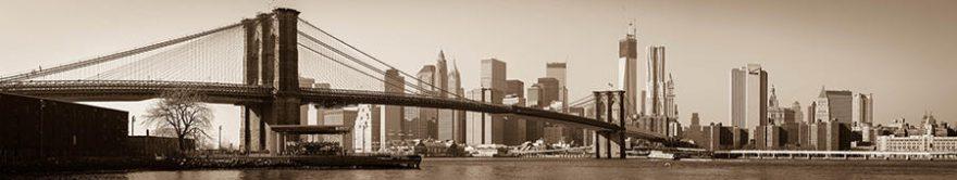 Изображение для стеклянного кухонного фартука, скинали: город, мост, небоскребы, fartux1750