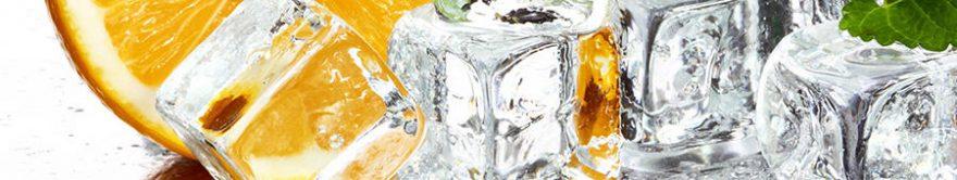 Изображение для стеклянного кухонного фартука, скинали: апельсины, лед, fartux1753