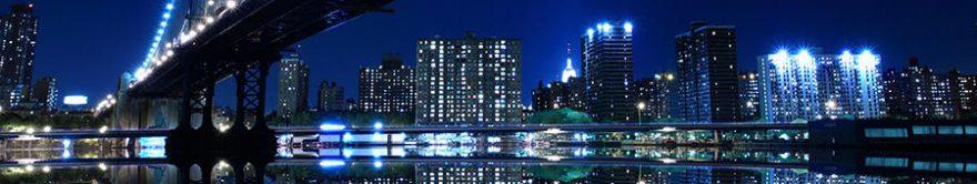 Изображение для стеклянного кухонного фартука, скинали: ночь, город, небоскребы, fartux1769