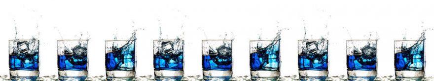 Изображение для стеклянного кухонного фартука, скинали: напитки, лед, стаканы, fartux1773