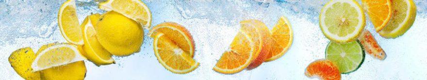 Изображение для стеклянного кухонного фартука, скинали: вода, фрукты, лимоны, fartux1779