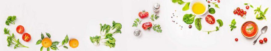 Изображение для стеклянного кухонного фартука, скинали: листья, посуда, овощи, fartux1782