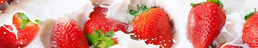 Изображение для стеклянного кухонного фартука, скинали: ягоды, клубника, молоко, fartux1789