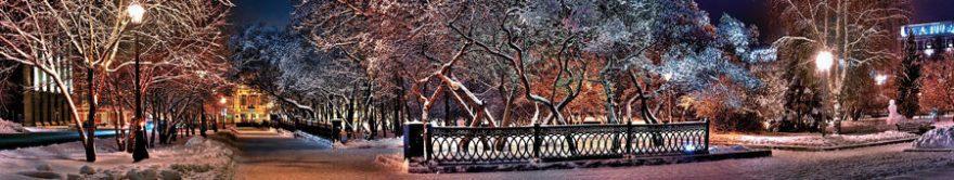 Изображение для стеклянного кухонного фартука, скинали: зима, деревья, улица, fartux1801