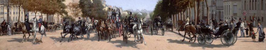 Изображение для стеклянного кухонного фартука, скинали: город, лошади, люди, fartux1803