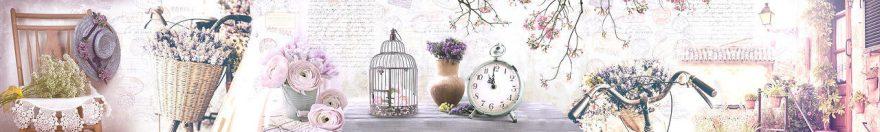 Изображение для стеклянного кухонного фартука, скинали: цветы, коллаж, часы, винтаж, fartux1811