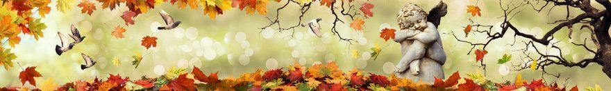 Изображение для стеклянного кухонного фартука, скинали: листья, осень, статуя, fartux1814