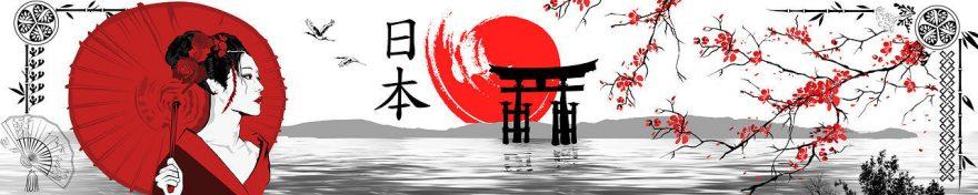 Изображение для стеклянного кухонного фартука, скинали: сакура, иероглифы, япония, fartux1819
