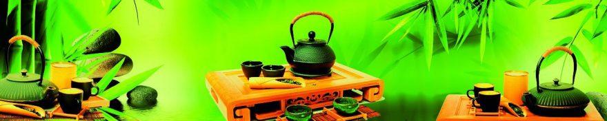 Изображение для стеклянного кухонного фартука, скинали: посуда, чай, кружка, чайники, fartux1826
