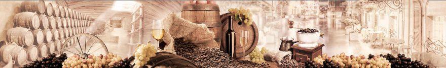 Изображение для стеклянного кухонного фартука, скинали: вино, бочка, виноград, fartux1830