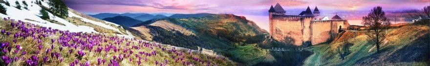 Изображение для стеклянного кухонного фартука, скинали: цветы, горы, дом, fartux1832