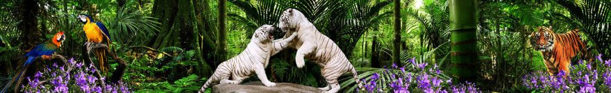 Изображение для стеклянного кухонного фартука, скинали: цветы, животные, птицы, тигры, джунгли, fartux1838