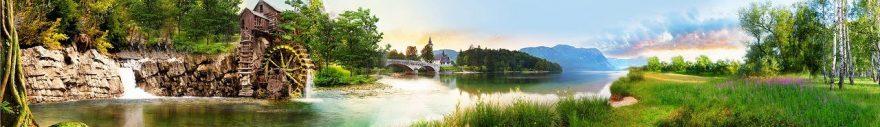 Изображение для стеклянного кухонного фартука, скинали: природа, лес, река, fartux1842