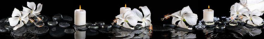 Изображение для стеклянного кухонного фартука, скинали: цветы, камни, свечи, fartux1847