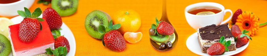 Изображение для стеклянного кухонного фартука, скинали: посуда, чай, фрукты, ягоды, кружка, еда, fartux1850