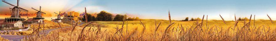 Изображение для стеклянного кухонного фартука, скинали: поле, природа, пшеница, мельница, fartux1851