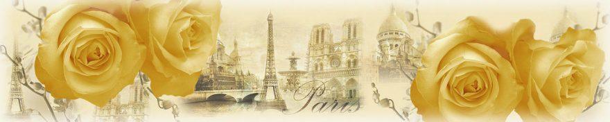 Изображение для стеклянного кухонного фартука, скинали: цветы, розы, коллаж, город, архитектура, винтаж, париж, fartux1853