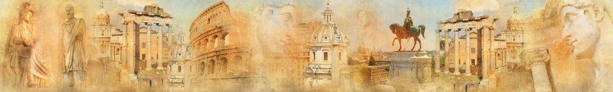 Изображение для стеклянного кухонного фартука, скинали: коллаж, город, афины, статуя, fartux1855