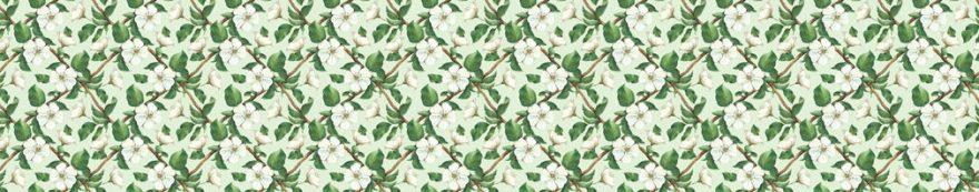 Изображение для стеклянного кухонного фартука, скинали: цветы, паттерн, fartux533