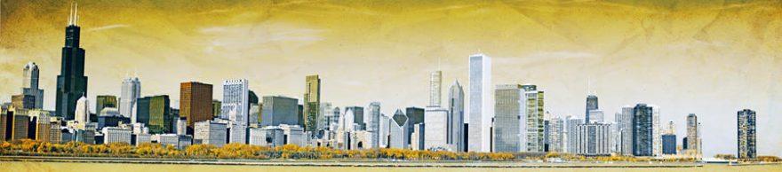 Изображение для стеклянного кухонного фартука, скинали: город, небоскребы, fartux535
