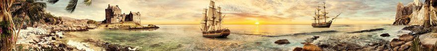 Изображение для стеклянного кухонного фартука, скинали: закат, море, корабль, fartux540
