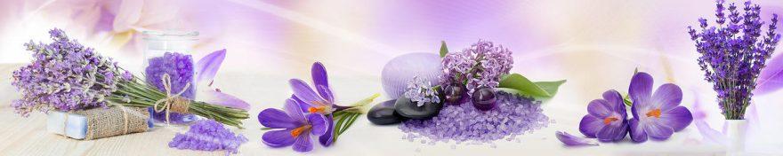 Изображение для стеклянного кухонного фартука, скинали: цветы, лаванда, сирень, крокусы, fartux542
