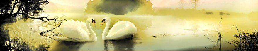 Изображение для стеклянного кухонного фартука, скинали: птицы, лебеди, fartux546