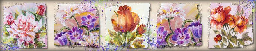 Изображение для стеклянного кухонного фартука, скинали: цветы, коллаж, картина, fartux551