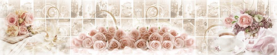 Изображение для стеклянного кухонного фартука, скинали: цветы, розы, коллаж, винтаж, fartux552